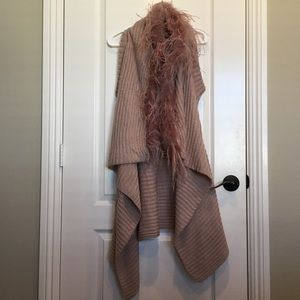 Bison Bisou Rose Banc Feathered Knitted Cardigan